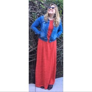 LulaRoe Maria Heathered Orange Solid Maxi Dress